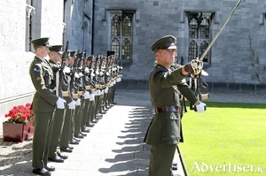 Lt Brian Daly leads the Irish army troops from Renmore Barracks at the national day of commemoration ceremony in N.U.I. Galway in honour of all those Irishmen and Irishwomen who died in past wars or on service with the United Nations. Photo:- Hany Marzouk
