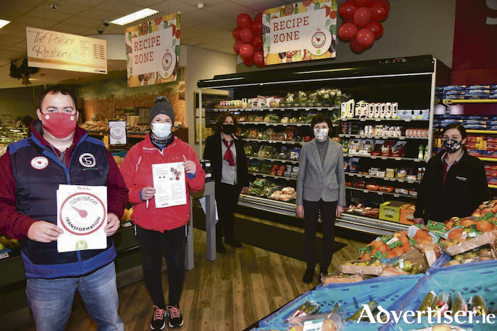Paul Devaney, Kilconly is one of the leaders in this year's Operation Transformation on RTE. He is pictured in O'Toole's Supervalu, Tuam with his wife Mary and Assumpta Meeneghan, Mary Lardner and Mags Connolly from O'Toole's Supervalu, Tuam. Photo:Jacinta Fahy@Johnny Ryan Photography