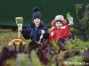 Sisters Millie (six) and Pippa Foley (eight) pictured launching The Big Grow 2021. Photo: Patrick Browne.