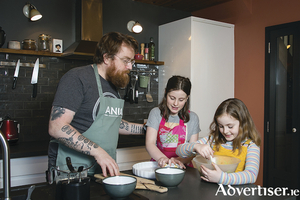 JP McMahon, chef patron at the Michelin-starred Aniar Restaurant in Galway, with daughters Heather and Martha.