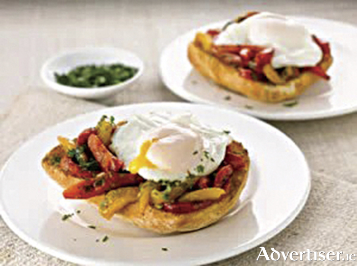 Mediterranean eggs on toast laden with flavour and colour