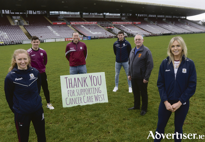Pictured at the 'March for Maroon' launch in Pearse Stadium, Louise Ward (Galway Ladies Senior Football captain 2020), Shane Walsh (Galway Senior Football captain), Richard Flaherty (CEO, Cancer Care West), Padraig Mannion (Galway Senior Hurling captain), Sean Greene (Search Co-ordinator, Oranmore-Maree Coastal Search Unit), and Sarah Dervan (Galway Senior Camogie captain 2020)..