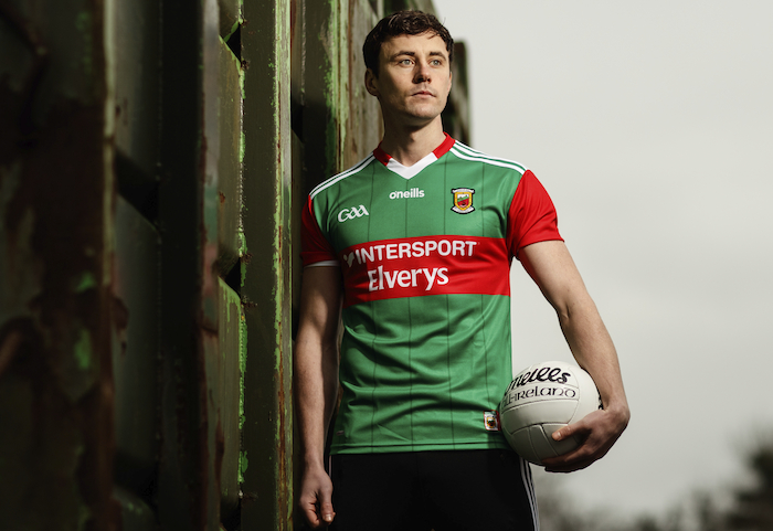 Mayo's Diarmuid O'Connor at the launch of the new Mayo jersey by Elverys Sports which took place this morning. The new jersey is available from May 5 2021. Photo: Inpho