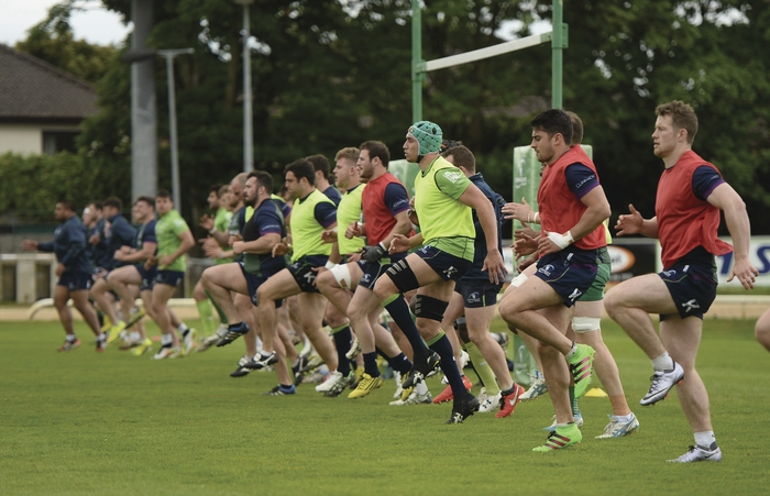 Connacht players warm up during squad training at the Sportsground, Galway. Photo by Diarmuid Greene/Sportsfile