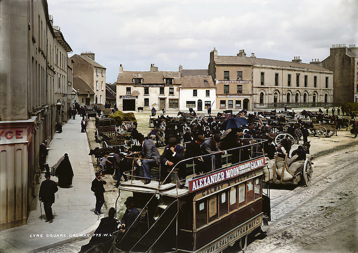 27 August 1886, Eyre Square, Galway City - A Royal Mail 979 Day Car, or a Bianconi mail car, near Webb's Hotel (now the Imperial Hotel ) and Black's Royal Hotel in Eyre Square.