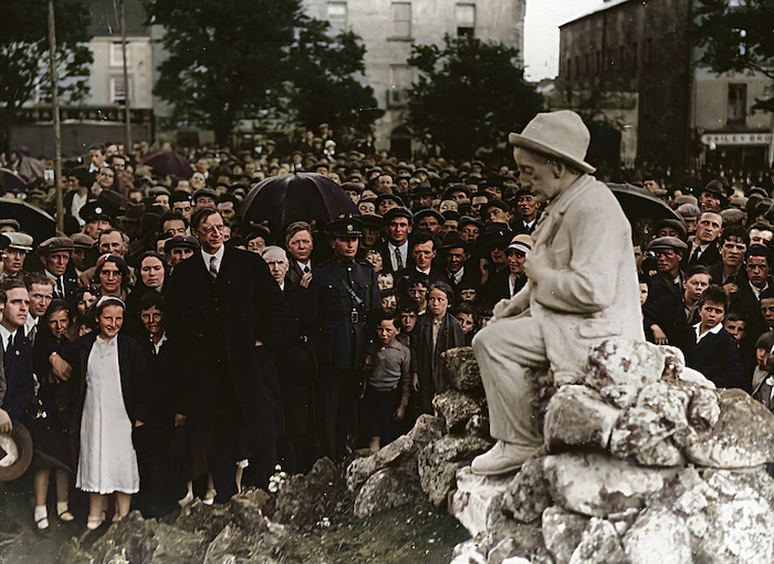 9 June 1935, Eyre Square, Galway City - Éamon de Valera (then president of the Executive Council of the Irish Free State ) unveiling the Pádraic Ó Conaire statue. Ó Conaire was the first modern writer to earn his living writing exclusively in the Irish language. The sculptor was Albert Power.