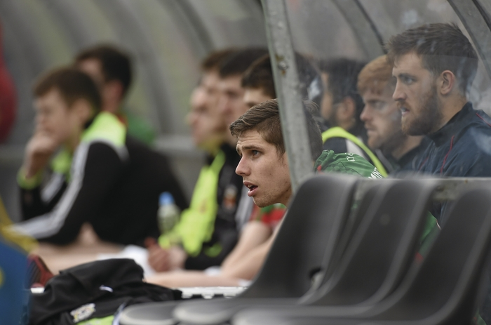 Watching on: Lee Keegan watches on from the sideline after he was withdrawn from the action. Photo: Sportsfile