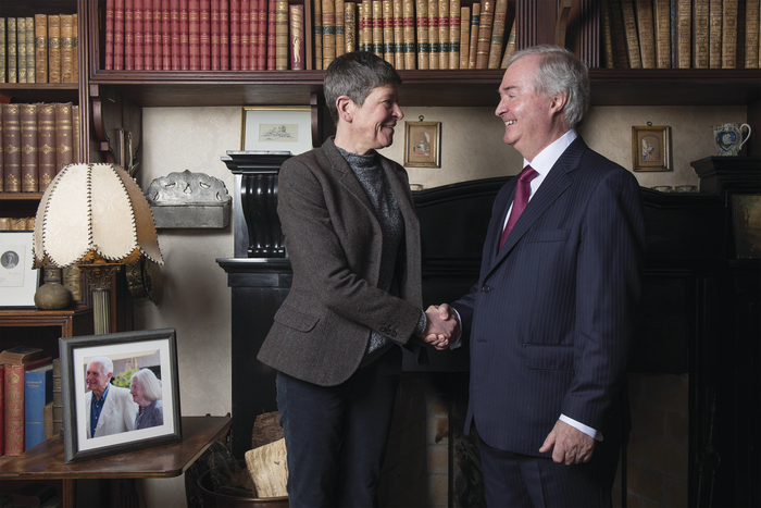 Ms Sheelyn Browne ( Daughter of the late Lord Altamount ) and Mr. Cathal Hughes (Chairman of The Hughes Group ) pictured at the announcement of the sale of Westport House. Photo: Michael McLaughlin
