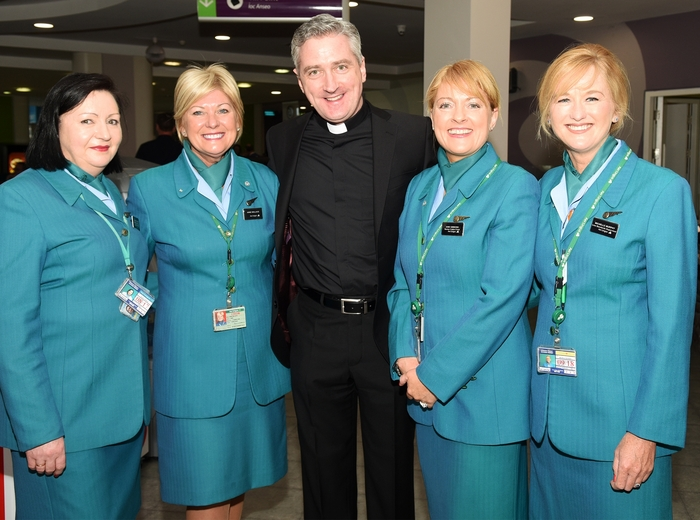 Hilary Horkan, Fr Richard Gibbons, Knock Shrine, Anne Wallace, Aine Gibbons, Michelle, Murphy ahead of the departure of the charter flight to New York
