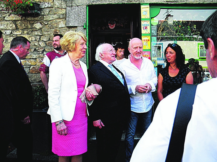 President Michael D Higgins and Sabina Higgins with Whitestrand Park native Padraig Larkin and his wife Nadia at the Galway Inn.