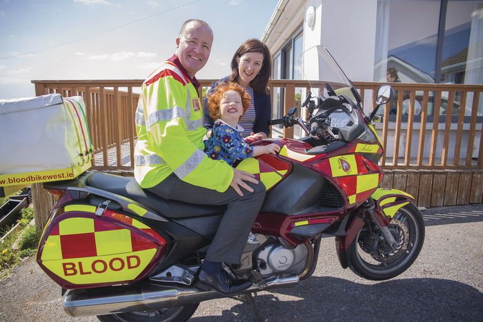 Mike Carty, Blood Bikes with Juliet and Gabrielle Smith. Mike delivered blood that saved Juliet before she was born. There will be a charity event in aid of Bike Fest West in the Galway Plaza on Sunday May 14th. There will be  a Monster Bike Exhibition, a Family Funday and a Charity Run. The world-renowned charity stunt rider, Mattie Griffin, will perform as well.