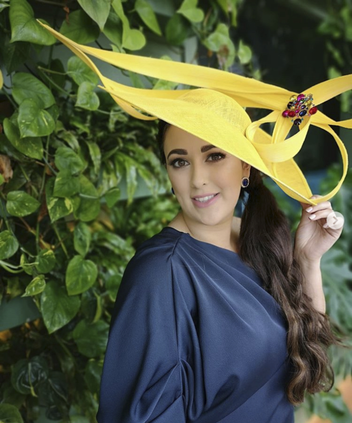 Melissa Carty from Galway, winner of the prestigious Best Hat accolade at the Galway Races.